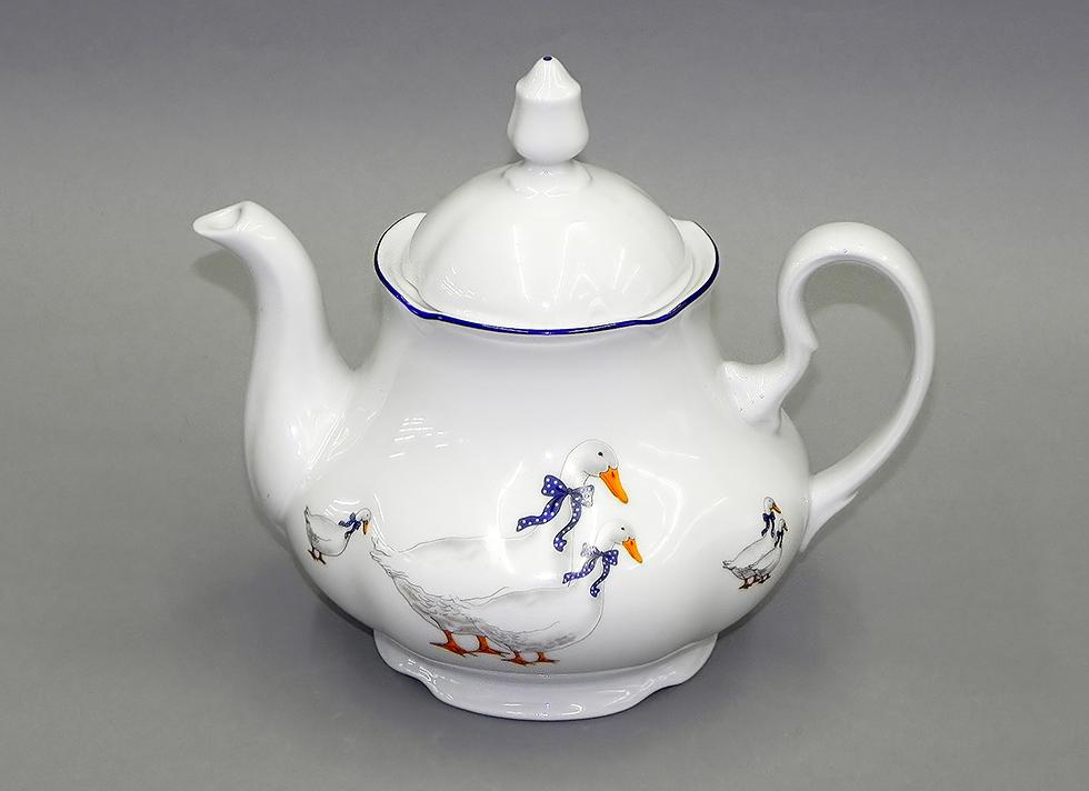 1b0de0ab7e1f Чехия Заварочные чайники Заварные чайники, Заварочный чайник с крышкой  фарфоровый 1200 мл, Гуси,