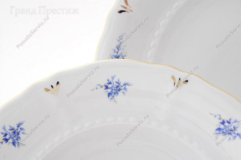 Leander Набор тарелок Соната Темно-синяя окантовка с золотом, 18 пр.