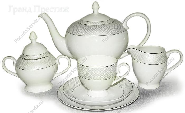 Emerald Чайный сервиз розовые цветы 40 предметов на 12 персон