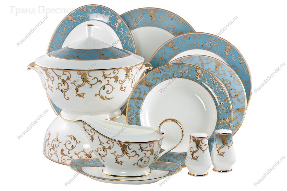 синий чайный сервиз ленинградского фарфорового завода